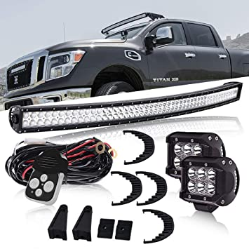 led light bar, dot 50 inch curved light bar offroad on windshield + 4inch  cube pods driving lights w/remote switch wiring harness for truck