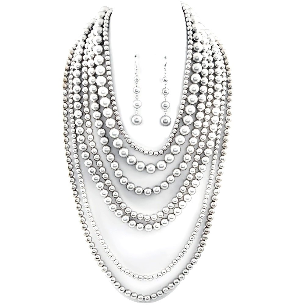 Statement Beaded Layered Strand Metallic Simulated-Pearl Bead Long Necklace Set Gift Bijoux (Silver)