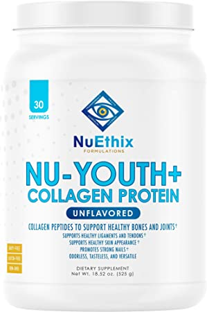 NuEthix Formulations Nu-Youth + Collagen Protein, Collagen Peptides to Help Support Bones and Joints Dietary Supplement, 30 Servings