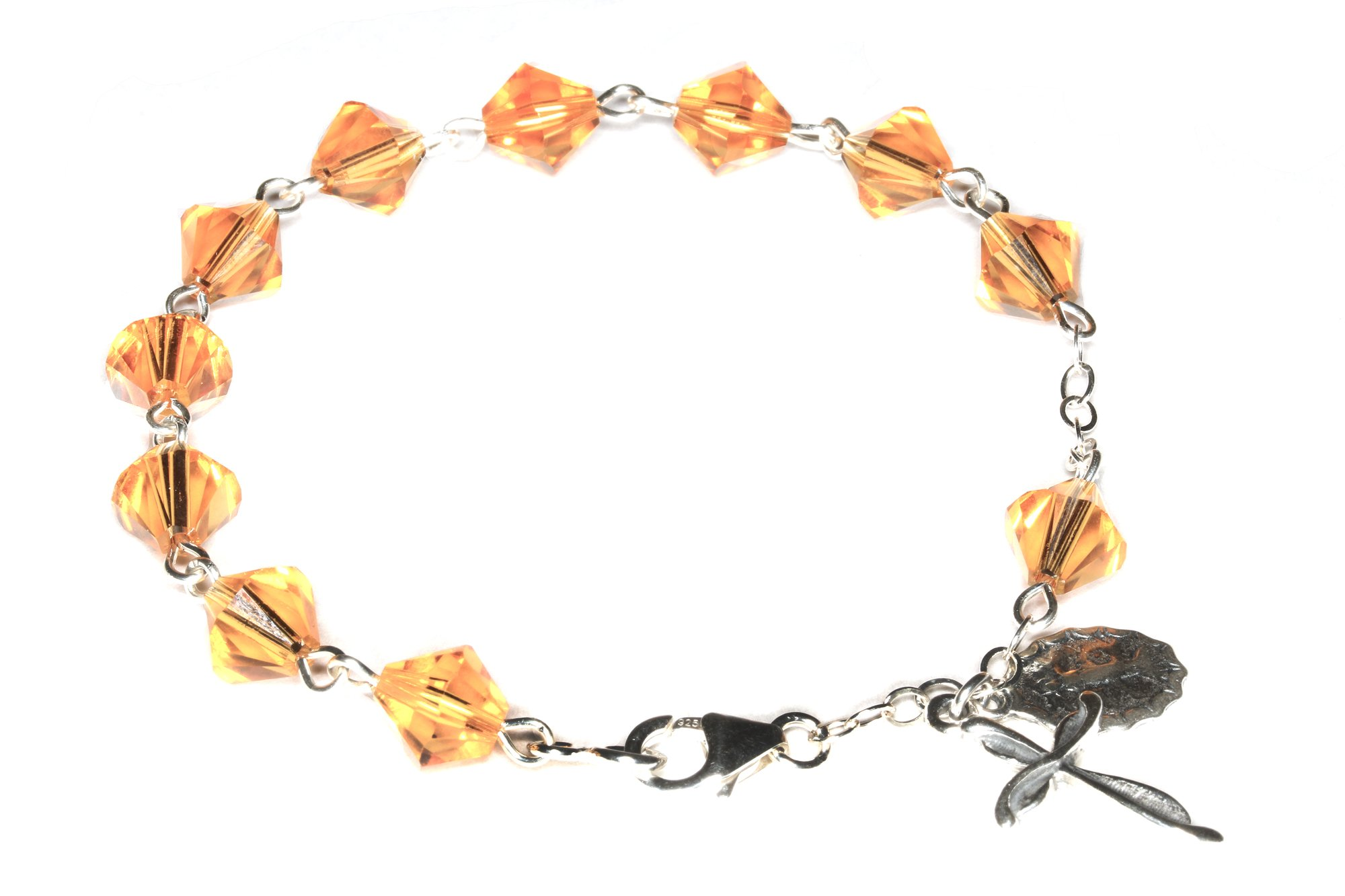 Womens Rosary Bracelet made with Topaz Brown Swarovski Crystal Elements (November)