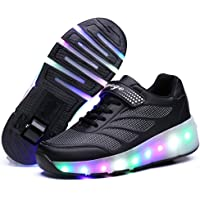 Wasnton Boys Girls LED Roller Shoes Single Wheel Double Wheels Flashing Breathable Roller Skates Outdoor Sports Gymnastic Technical Skateboarding Sneakers Trainers