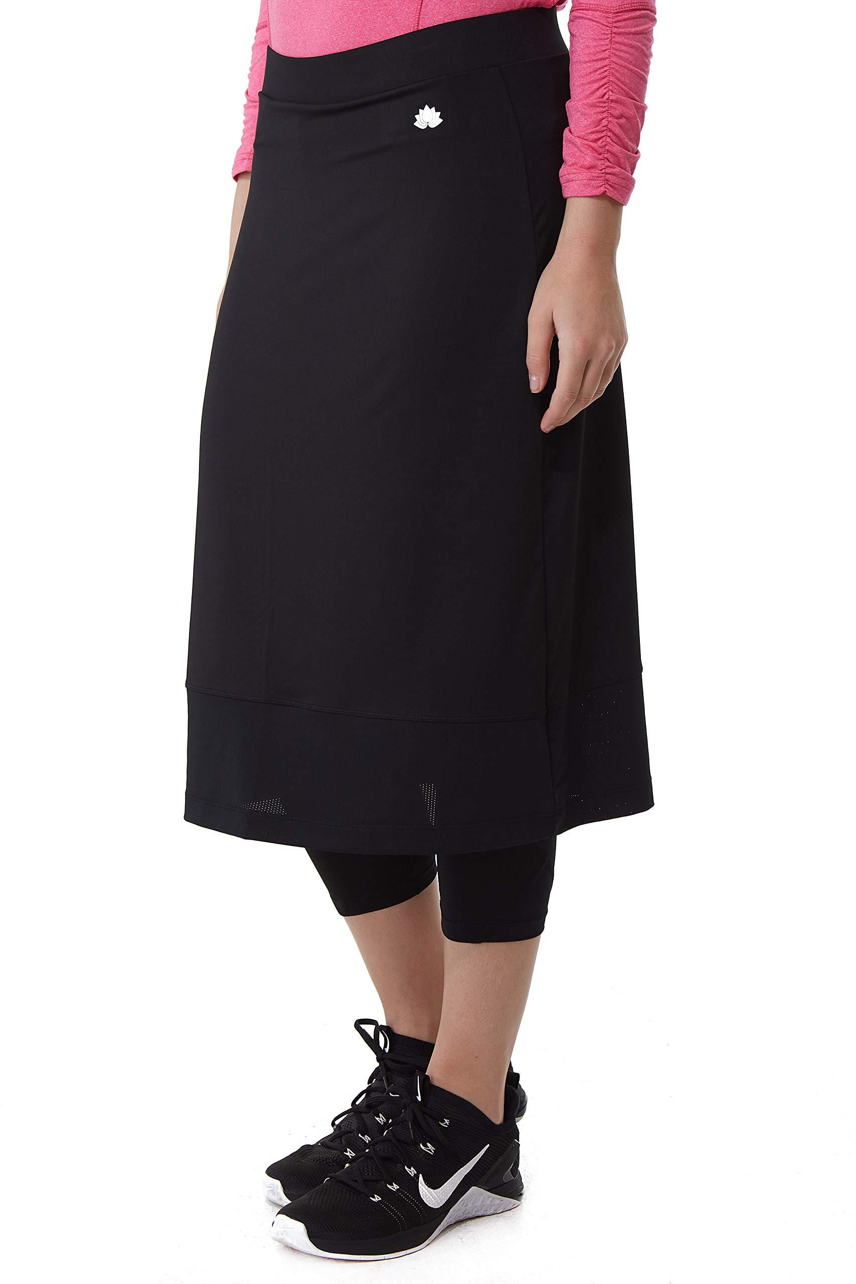 Snoga Athletics Midi Mesh Basic Workout Skirt with Leggings - Black, 1X