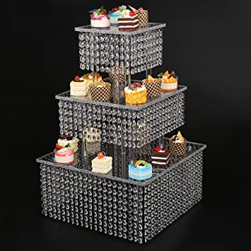 Amazoncom Clear Tier Cupcake Stand With Chandelier Grade - Cupcake chandelier stand crystals