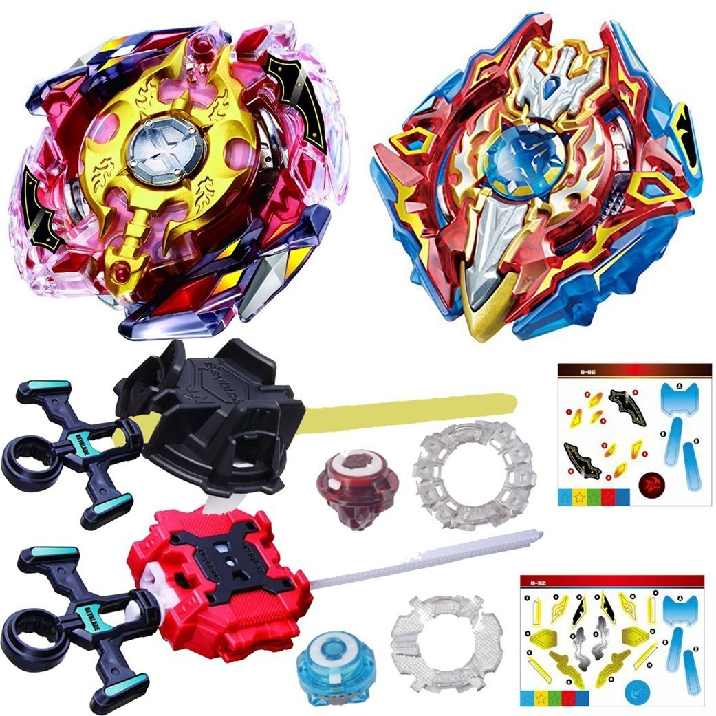 2018 4D Spinning Top Game Toy bey burst B-92 Starter Sieg Excalibur.1.Ir and B-86 Legend Spriggan 7 Mr blades with launcher stater set high performance battle top