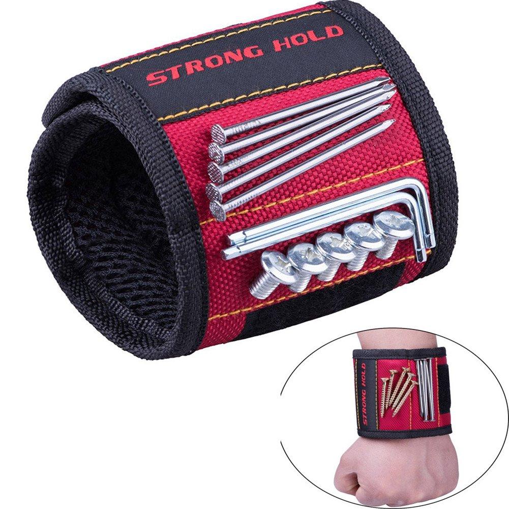 Magnetische Armbänder, Phego Magnetarmband mit 5 leistungsstarken Magneten Magnet Armbänder verstellbares Klettband zum Halten von Wer kzeugen, Schrauben, Nägel, Bohren Bits und Kleinwerkzeuge … (Blau 2)