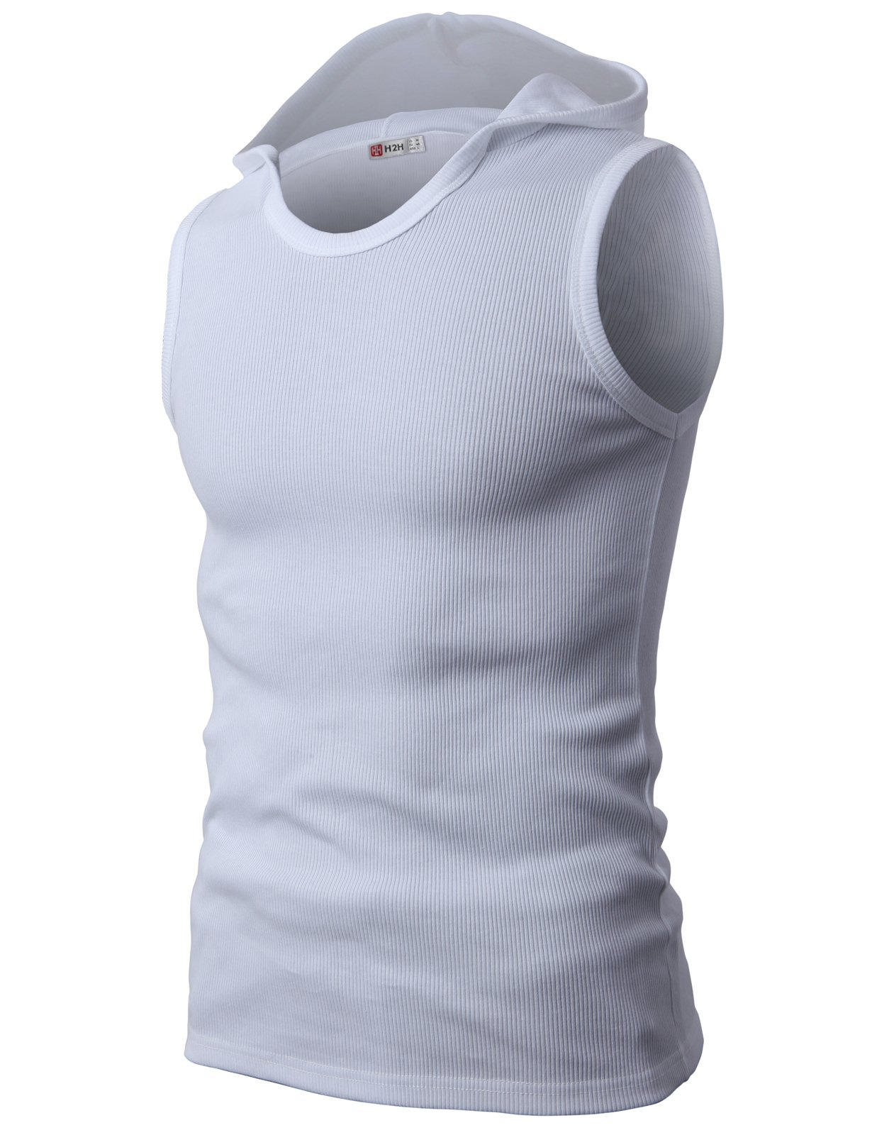 H2H Mens Fashion Casual Hooded Sleeveless T-Shirts White US S/Asia M (JPSK05)