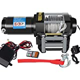DCFlat 12V 2500/3000/3500/4000/4500LBS Wire Rope Electric Winch for Towing ATV/UTV/Boat Off Road with Mounting Bracket…