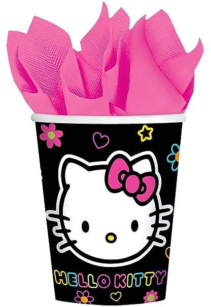 Amazon Com Hello Kitty Neon Tween Paper Cups 8ct Home Kitchen