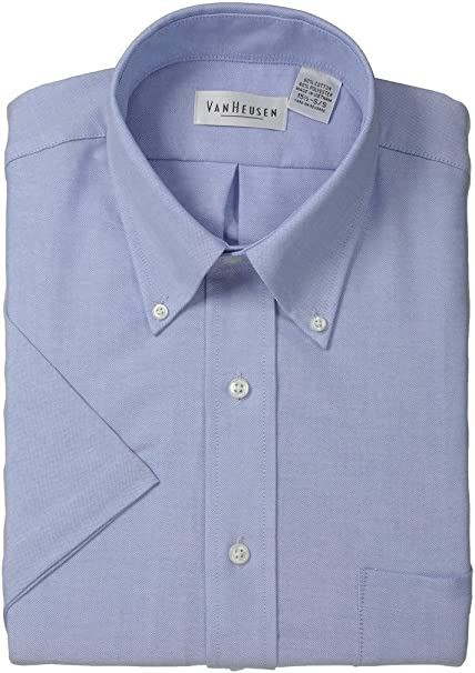 Van Heusen Mens Dress Shirts Short Sleeve Oxford Solid