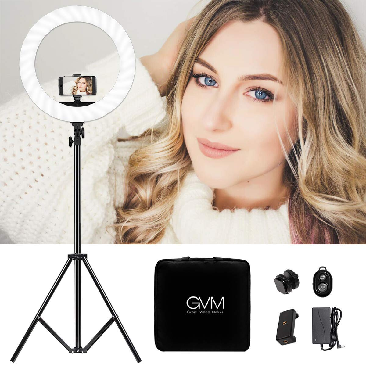 GVM Ring Light kit 19-inch, Professional CRI97+  Bi-Color Led Ring Light with LCD Display, Stand, Bluetooth Receiver, Plug-in Cable ,Phone holder,Bag,for Makeup Lighting, YouTube, Portrait Video Shoot by GVM Great Video Maker