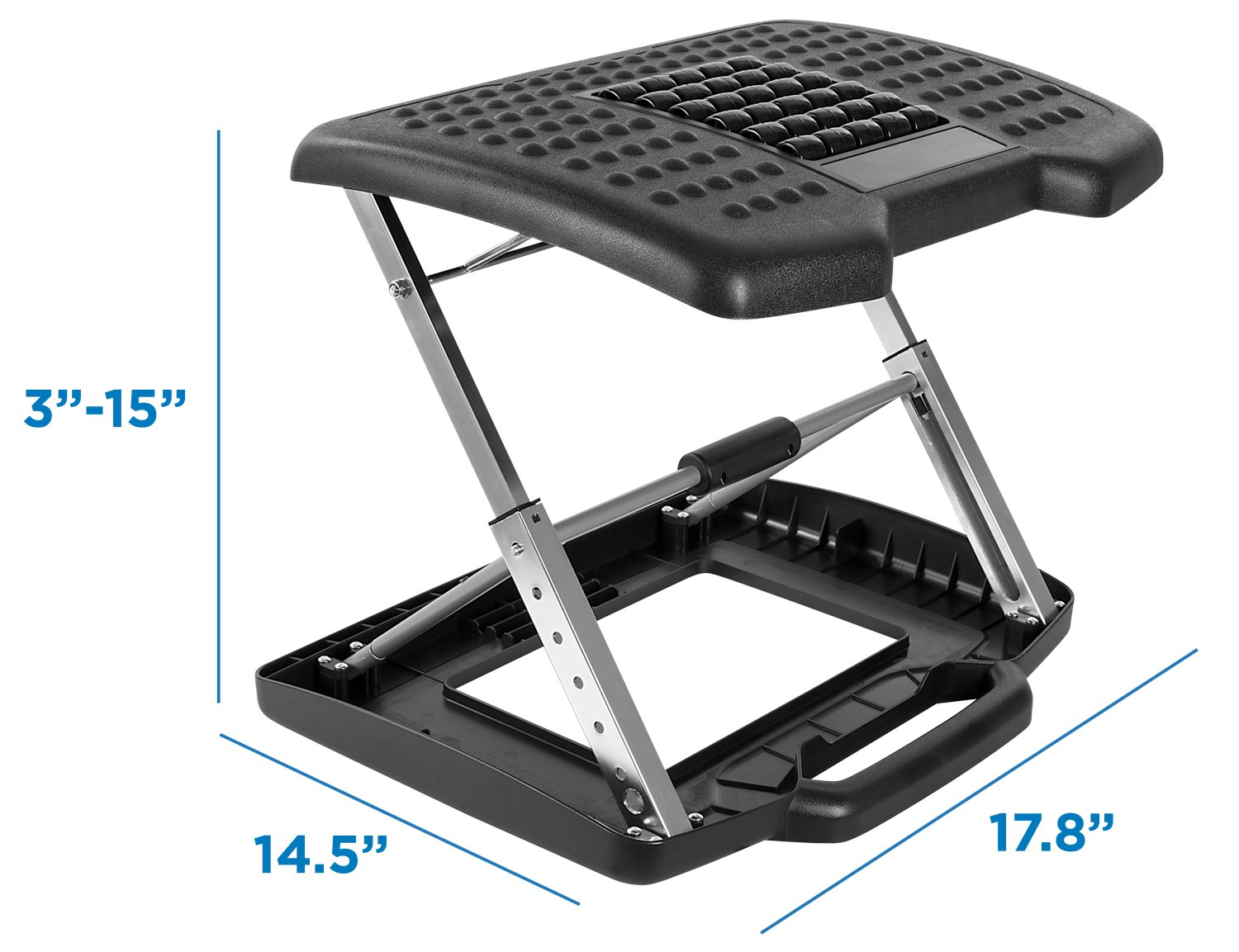 Mount-It! Adjustable Footrest with Massaging Beads Adjustable Height and Angle Office Foot Rest Stool for Under Desk Support, 3-Level Height Adjustment, Black by Mount-It! (Image #6)