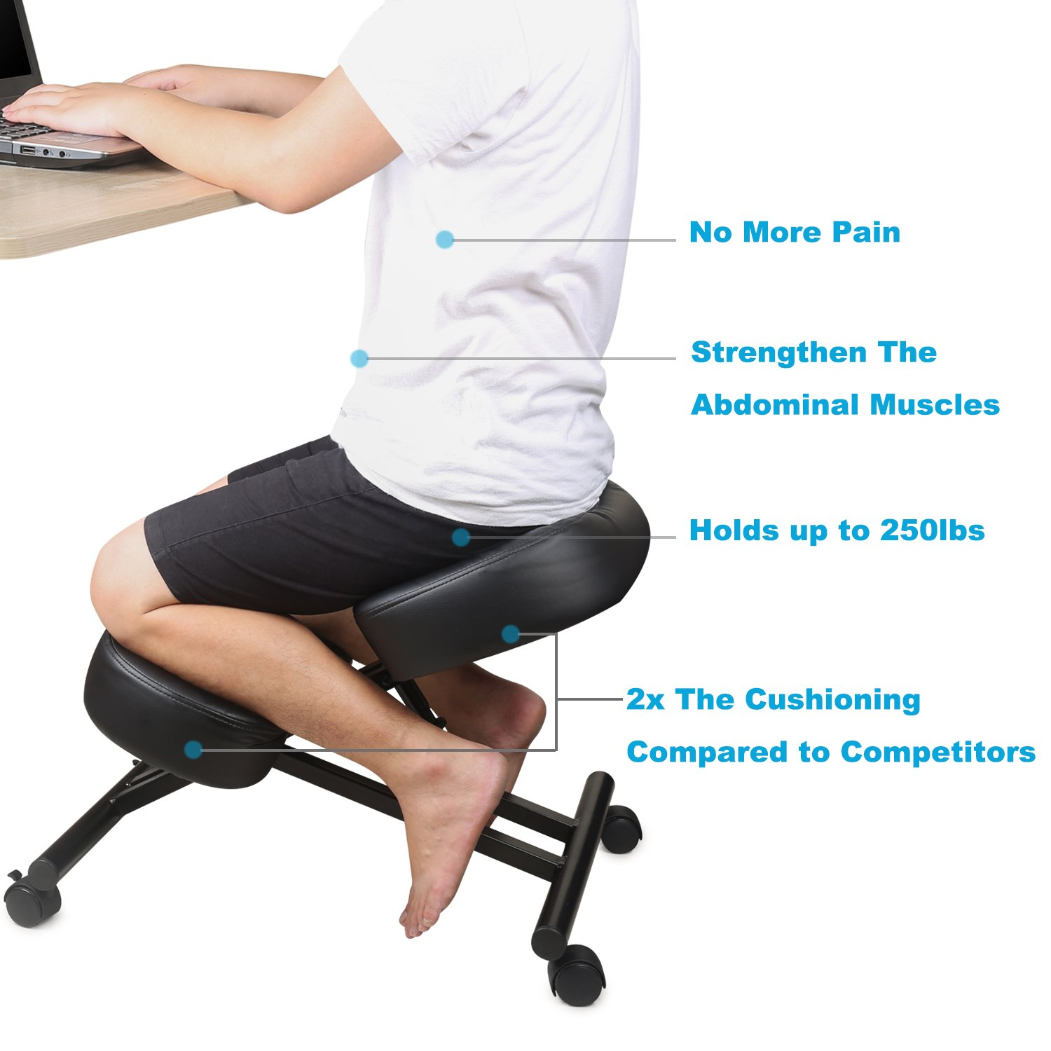 DRAGONN Ergonomic Kneeling Chair, Adjustable Stool for Home and Office – Improve Your Posture with an Angled Seat – Thick Comfortable Cushions