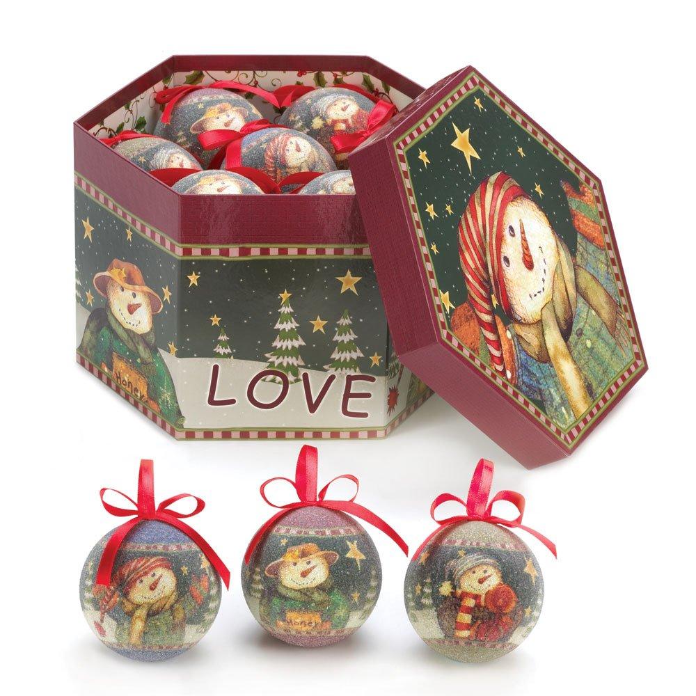 Amazon.com: Winter Snowman Tree Ornaments Green & Red: Home & Kitchen