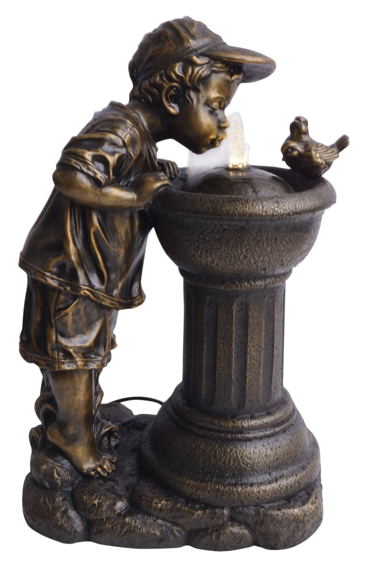 Alpine Corporation Golden Boy Drinking Water Out of Fountain with LED Light