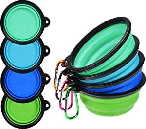 PetBonus 4-Pack Silicone Collapsible Dog Bowls, BPA Free Dishwasher Safe, Portable Foldable Expandable Travel Bowl, Food Water Feeding Cup Dish for Dogs Cats (Blue + Green + Light Blue + Light Green)