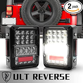 Amazon.com: SPL DOT Approved LED Tail Light & Brake Light & Ultimate Reverse  Lights EMC Build-in Rear Light Back Up Lights Daytime Running Lamps  Replacement for Jeep Wrangler JK/JKU 2007-2017: AutomotiveAmazon.com