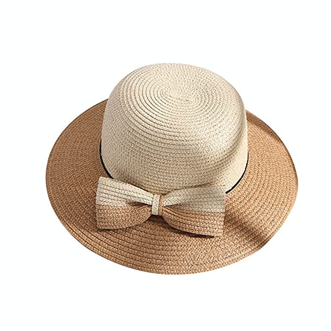 43aee405515b40 Women Sun Protection Fashion Sun Hats Wide Brim Straw Hat Double Color Hat  with Bow at Amazon Women's Clothing store:
