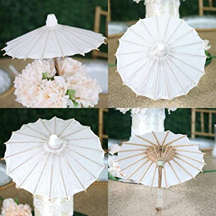 Amazon Com Tableclothsfactory 32 White Paper Parasol Umbrella For
