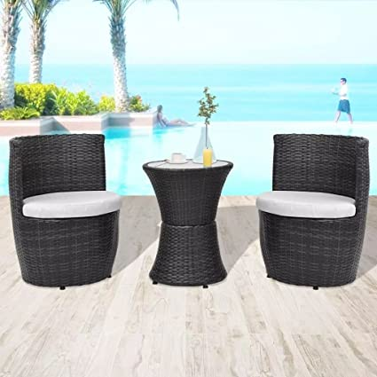 HomeDecor 3 Pieces Patio Outdoor Furniture Set Poly Rattan Wicker, 2 Chairs  And 1 Table