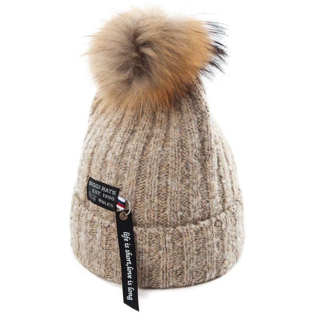 Siggi Womens Girls Winter Beanie Hat Wool Knitted with Pom Pom Fur ... d0c3f877c700