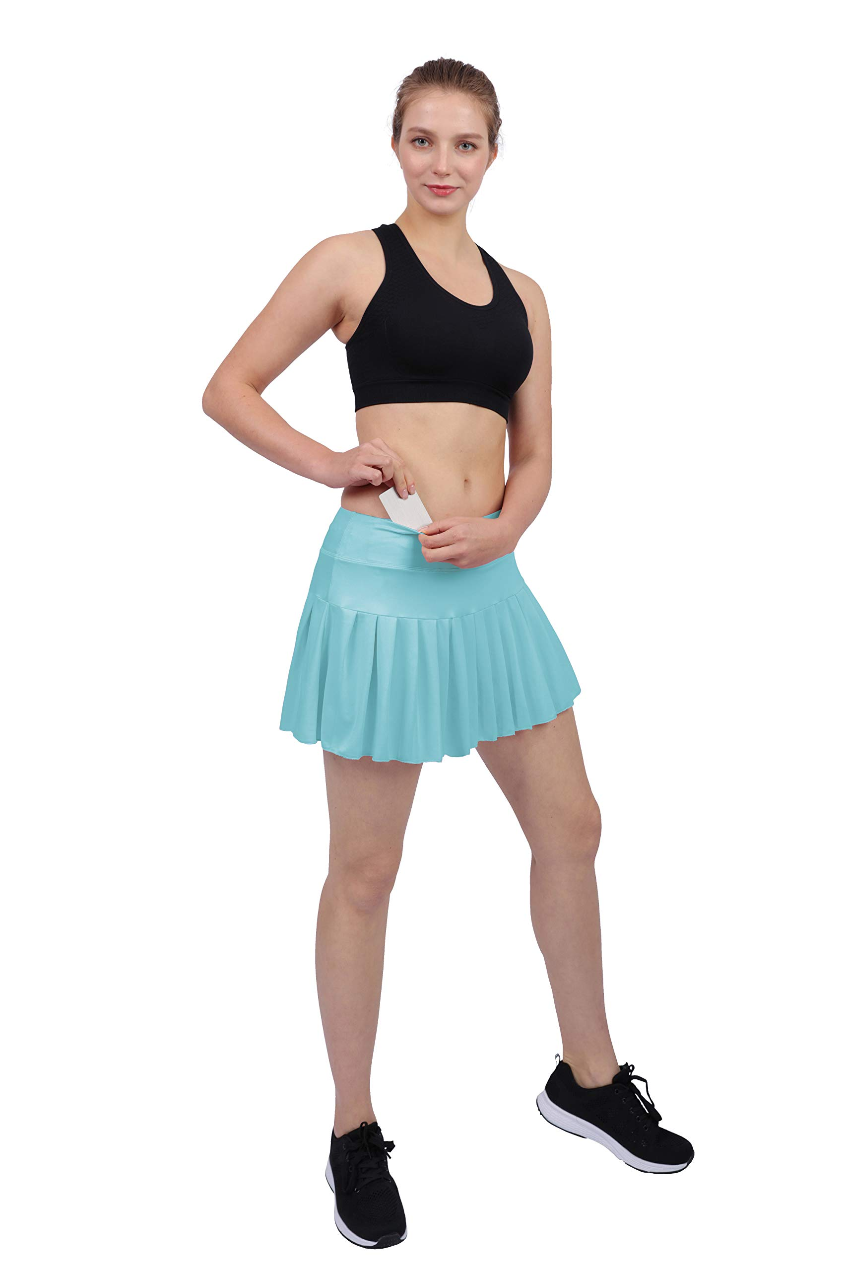 Womens Tennis Pleated Skorts Golf Workout High Waist Biult in Skirts Sports Active Wear with Pockets Light Blue by HonourSex