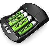 Rayovac - Pilas Recargables AA y AAA con Cargador de batería, AA y AAA + Cargador, 4 Unidades