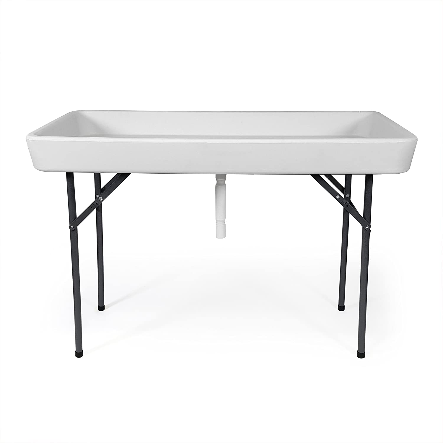 6 Foot Cooler Ice Table Party Ice Folding Table with Matching Skirt – White
