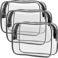 Clear Toiletry Bag, Packism 3 Pack TSA Approved Toiletry Bag Quart Size Bag, Travel Makeup Cosmetic Bag for Women Men…