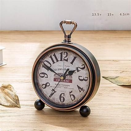 RFVBNM Reloj retro ornamentos relojes antiguos europeos sala de estar reloj de escritorio reloj de pared