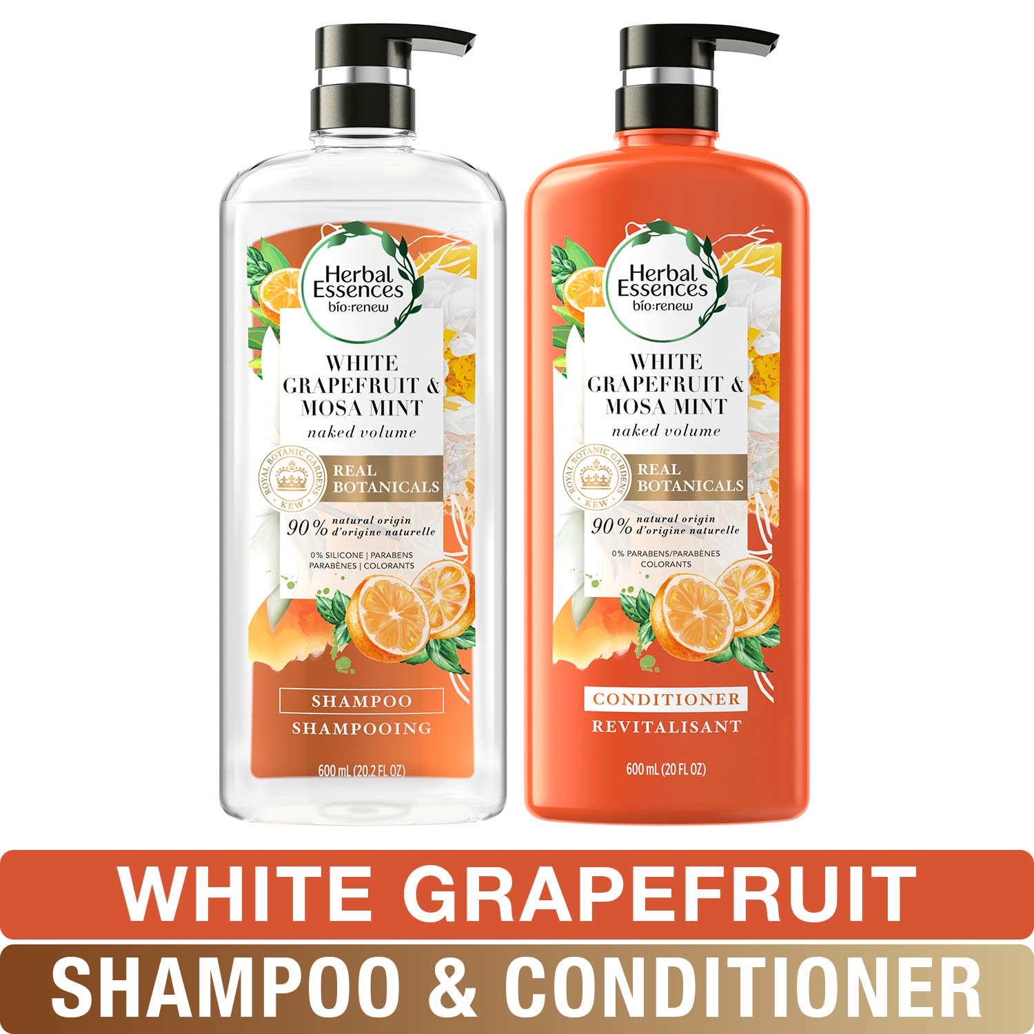Herbal Essences, Volume Shampoo & Conditioner Kit with Natural Source Ingredients, For Fine Hair, Color Safe, Bio Renew White Grapefruit & Mosa Mint Naked Volume, 20.2 fl oz, Kit