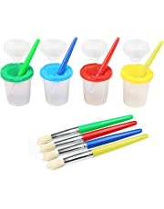 LEADSTAR Spill Paint Proof Cups , 4 Pcs No Spill Paint Cups Set with Colored Lids and Round Brushes,Drawing Tool Set for Children Toddlers Beginners