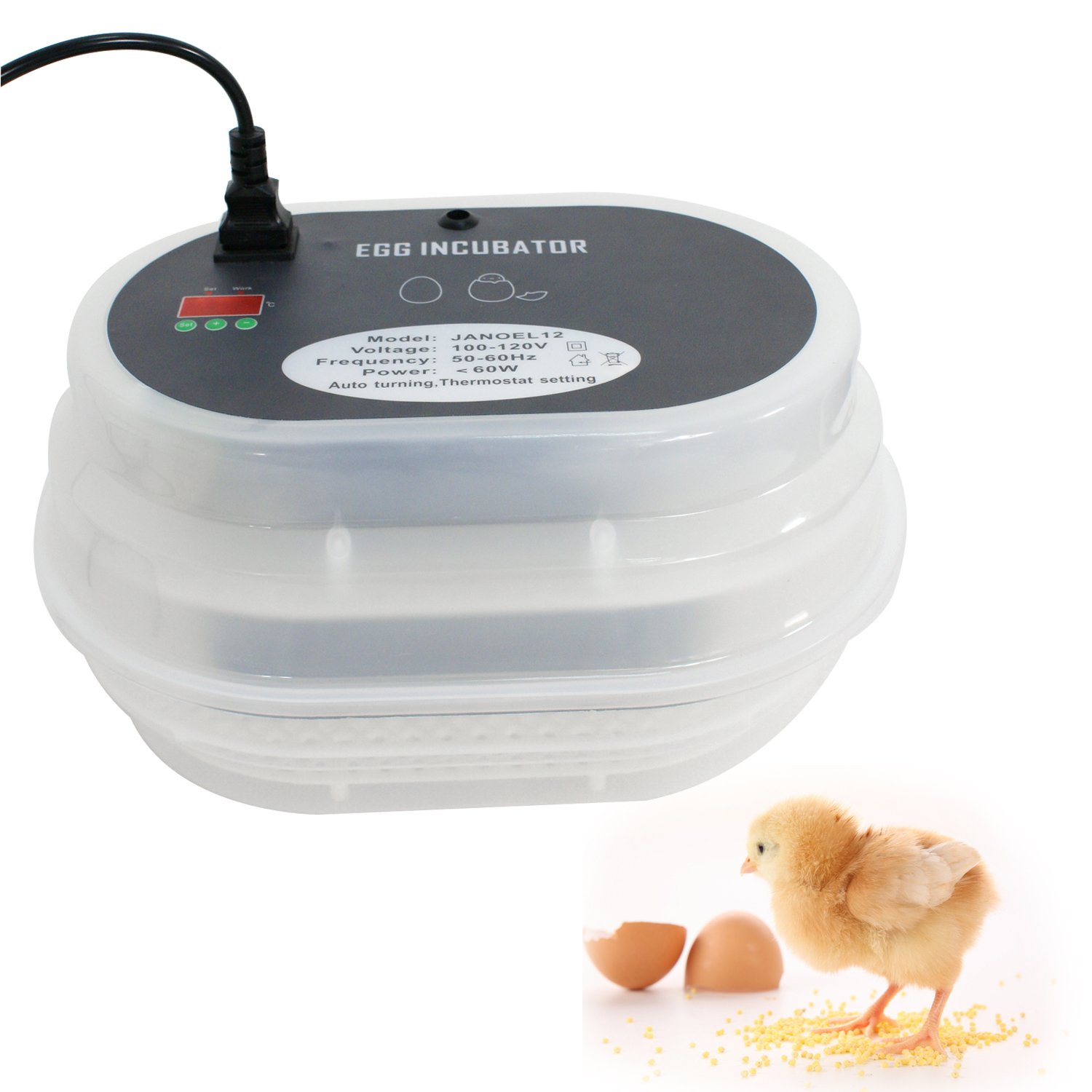 Nova Microdermabrasion Mini Egg Incubator, 9-12 Digital Automatic Chicken Hatcher, Poultry Hatcher W Temperature Control for Chickens Ducks Goose Quails Birds