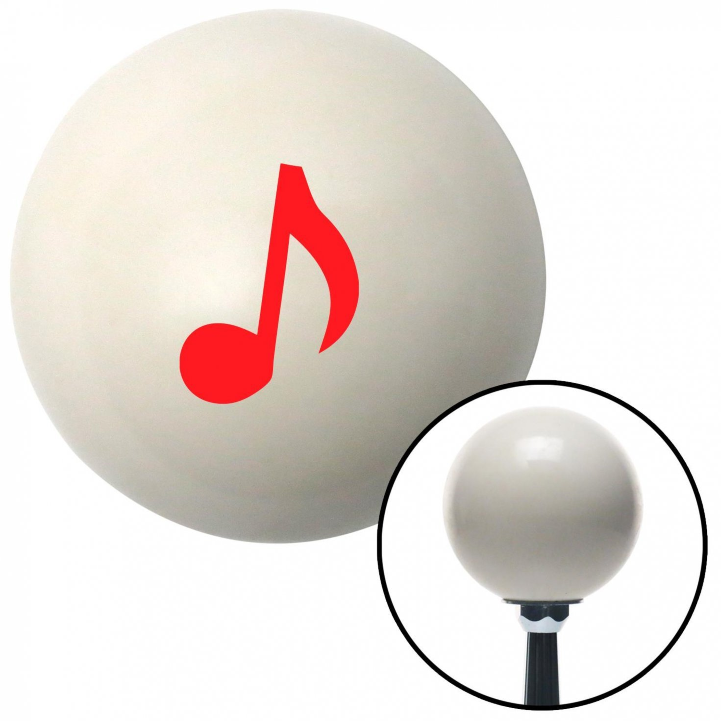 American Shifter 32064 Ivory Shift Knob with 16mm x 1.5 Insert Red Music Note