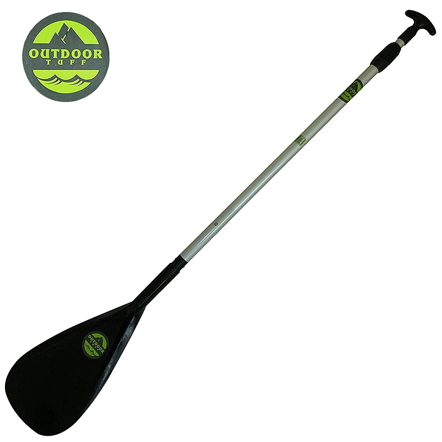 Outdoor Tuff 2-Piece Adjustable Paddle Heavy Duty Alloy Paddle That Floats All Ages and Sizes SUP Stand Up Paddleboard, Canoe, Kayak, Raft