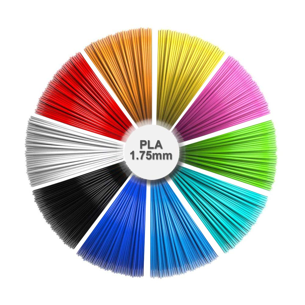 3D Pen refills, 1.75mm PLA pack (10 solid colors, 16 feet each color) total 160 feet, Non-toxic and odorless/No clogging Sunlu UK-HO-PLA-5M10C