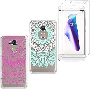 jrester 2 X Funda BQ Aquaris V/Vs,Totem Azul + Mandala Rosa Suavee Silicona Smartphone Cascara Protectora para BQ Aquaris V/Vs (5,2