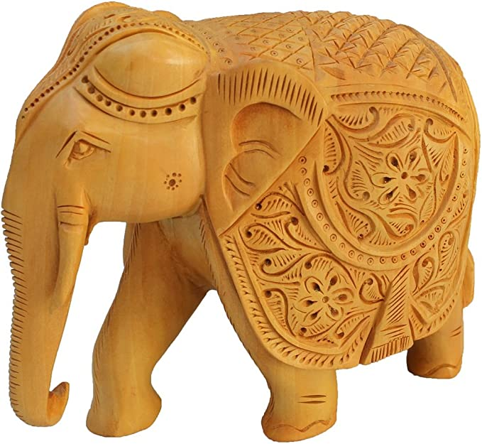 Hand Carving Wooden Crafts Elephant Animal Ornaments Statue Desk Ornaments 8C