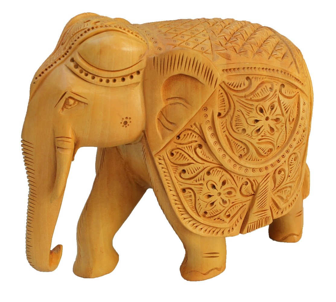 Real Wooden Elephant Statue 8 Inch Large Hand Carved Collectable Figurine And Sculpture Perfect Gifts And Decor