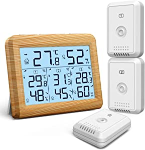 KeeKit Indoor Outdoor Thermometer, 3 Channels Temperature Humidity Monitor, Digital Hygrometer Gauge with LCD Backlight, Min/Max Record for Home, Office, Restaurants, Bars, Cafe – Wooden Yellow