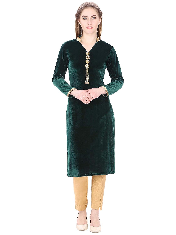 20de373ddf Kittu's Women's Velvet Kurti (Green, Small): Amazon.in: Clothing &  Accessories
