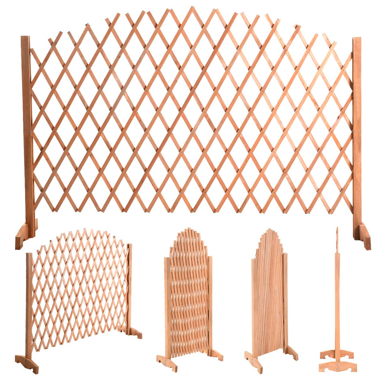 Casart Wooden Expanding Fence Freestanding Arched Trellis Protection Adjustable Screen Divider Growing Support Outdoor Garden 1.80 m x 1.18 m