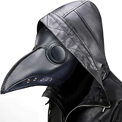 Plague Doctor Mask Steampunk Bird Beak Costume Long Nose Crow Beak Halloween Cosplay PU Costumes for Unisex-Kids/Adults (Black): Clothing