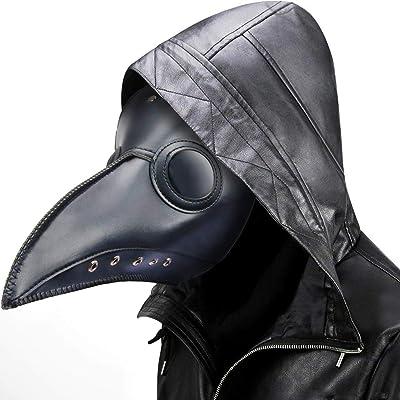 Plague Doctor Mask Steampunk Bird Beak Costume Long Nose Crow Beak Halloween Cosplay PU Costumes for Unisex-Kids/Adults (Black): Clothing