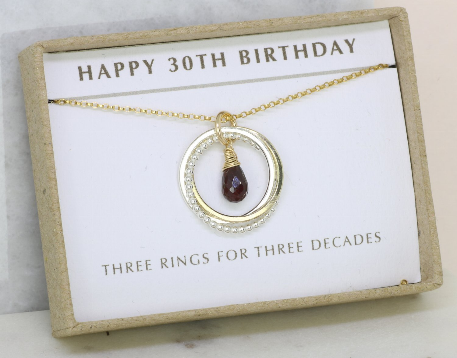 Amazon 30th Birthday Gift For Her Garnet Necklace January Birthstone Sister Girlfriend Wife