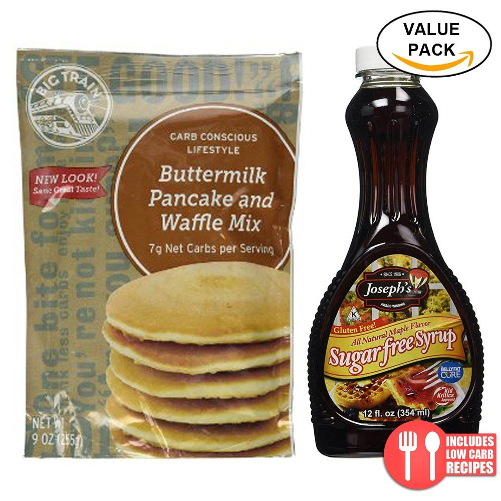 Amazon.com : Value Combo Pack: Big Train Low Carb Pancake Mix and Josephs Sugar Free Maple Syrup : Grocery & Gourmet Food