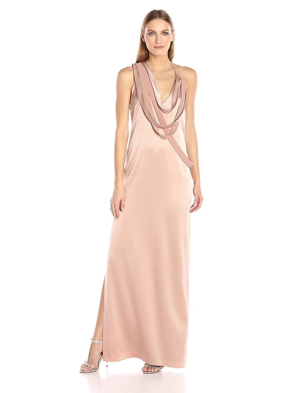 3c5203695a2c Amazon.com: Halston Heritage Women's Sleeveless Slip Gown Draped Strip  Detail: Clothing