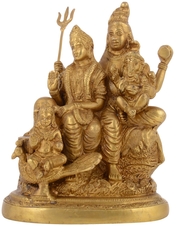 Kapasi Handicrafts Brass Lord Shiv Parivar Idol Big Statues (5.75'' x 3.75'' x 7.5'' Inch) by Kapasi Handicrafts Emporium Since 1973 (Image #1)