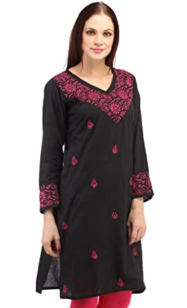 bbd81e87900 Image Unavailable. Image not available for. Colour: Ladies Tops Tunic Kurti  Blouse Indian Chikankari Hand Embroidery Cotton handmade women's dresses  clothes