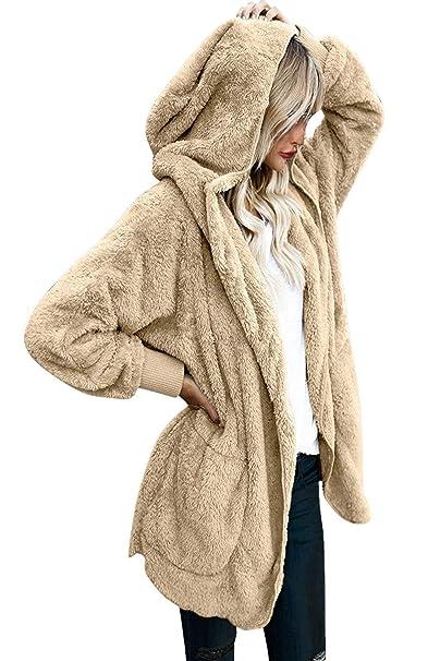 Yanekop Womens Winter Open Front Loose Hooded Fleece Sherpa Jacket Cardigan  Coat(Khaki 422e64edd