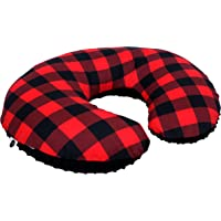 Nursing Pillow Cover Slipcover Minky Boy Girl - Woodland Nursery Decor for Baby Boys and Girls by JLIKA (Buffalo Plaid)